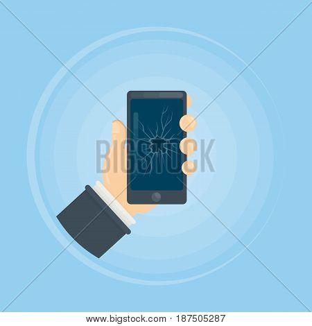 Phone with broken screen. Hand holds broken smartphone.