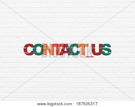 Finance concept: Painted multicolor text Contact us on White Brick wall background