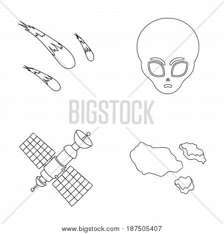 Asteroid, car, meteorite, space ship, station with solar batteries, the face of an alien. Space set collection icons in outline style vector symbol stock illustration .