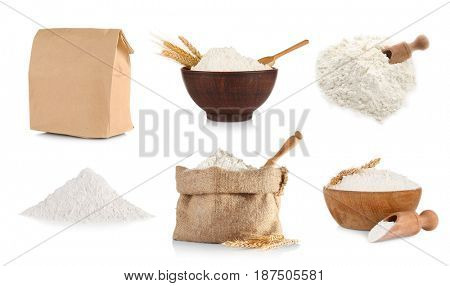 Collage of flour on white background