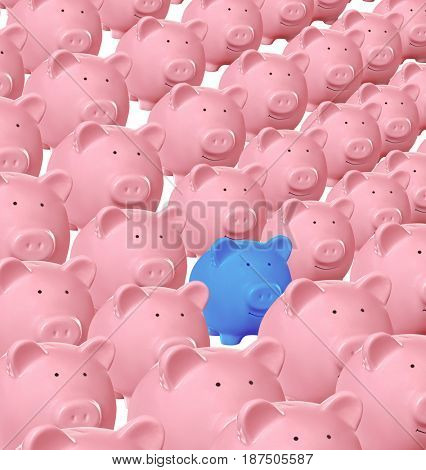 Blue piggy bank being different from others