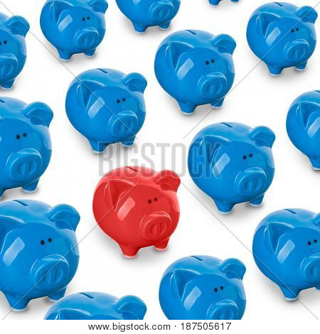 Red piggy bank being different from others on white background