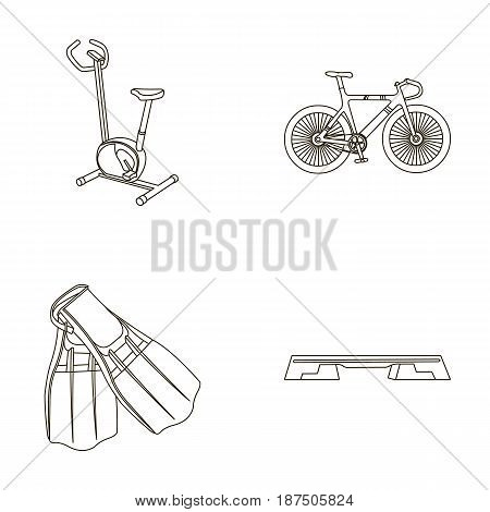Exercise bike, bicycle, fins for swimming, fitness bench. Sport set collection icons in outline style vector symbol stock illustration .