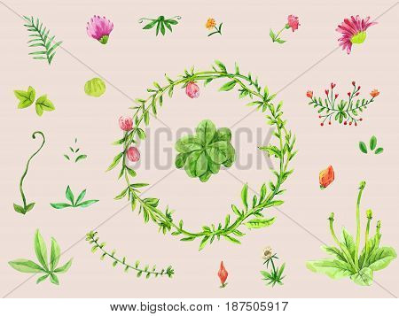 Watercolor set of leaves floral elements and flowers. Hand drawn collection suitable for wedding design.