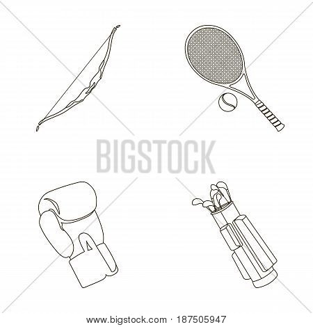 Bow for shooting at the target, racket with a ball for playing in a tennis court, a glove for boxing, a cover, a drawer for golf clubs. Sport set collection icons in outline style vector symbol stock illustration .