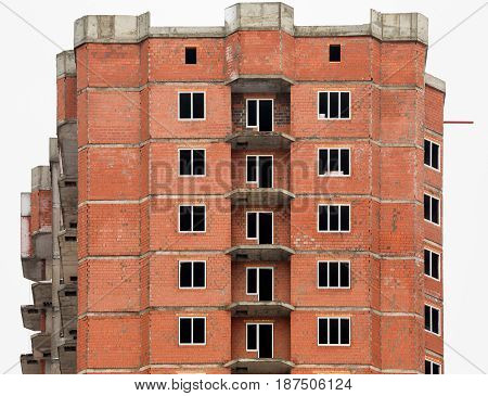 The construction of multi-storey houses of red brick