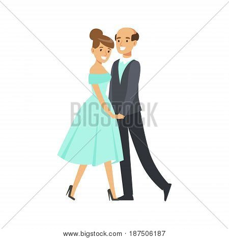 Happy couple dancing ballroom dance colorful character vector Illustration isolated on a white background