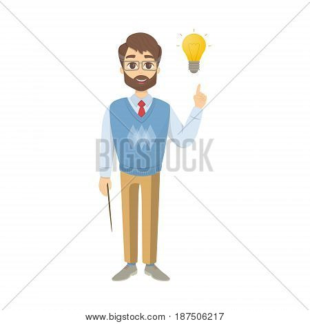 Isolated smiling teacher with idea on white background.