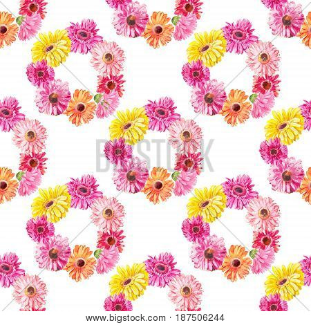 Watercolor pattern of pink flowers woven into wreaths. Texture suitable for printing on fabric scrapbooking paper and other