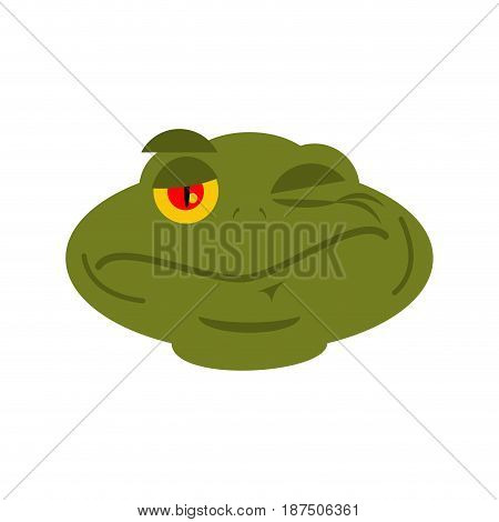 Frog Winks Emoji. Toad Avatar Happy Amphibious. Emotion Reptile Face