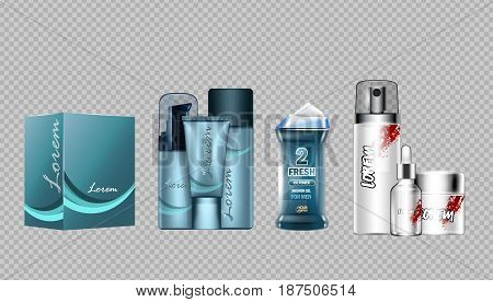 Digital vector blue skin care cream, lotion, shower gel and perfume cosmetic container set mockup collection, your brand package, magazine design. Transparent and shine template, realistic 3d style
