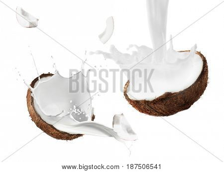 Coconut and milk splashes on white background