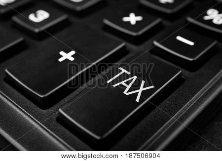 Tax concept. Modern calculator, closeup