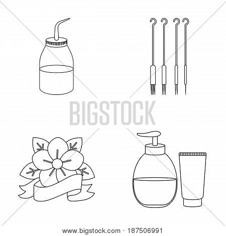Gel, needles and other equipment. Tattoo set collection icons in outline style vector symbol stock illustration .
