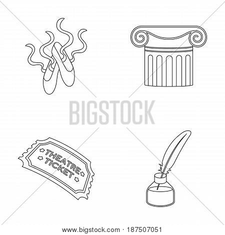 Pointe shoes, column, theater ticket, inkwell with feather. Theater set collection icons in outline style vector symbol stock illustration .