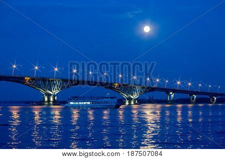 Bridge on the Volga river between the cities of Saratov and Engels, summer evening, Russia