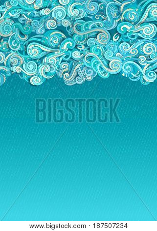 Vector Rain Clouds Background.