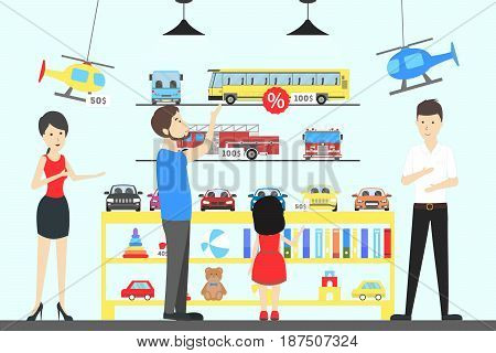 Toy shop interior. Children with parents want to buy the toys.