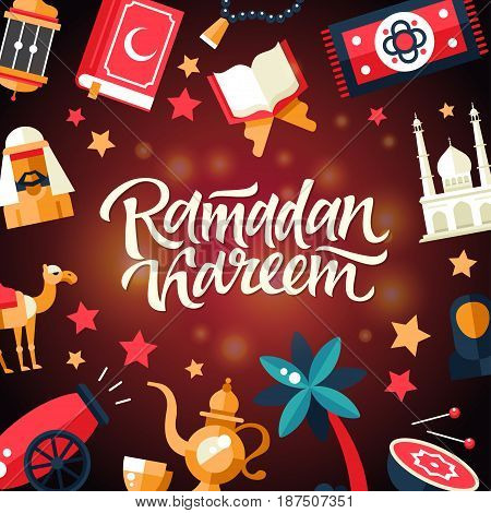 Ramadan Kareem - modern vector flat design postcard template with icons of islamic holiday, culture, traditional greeting, hand written lettering. Muslim male, female, camel, cannon, mosque, prayer beads, lamp, drum