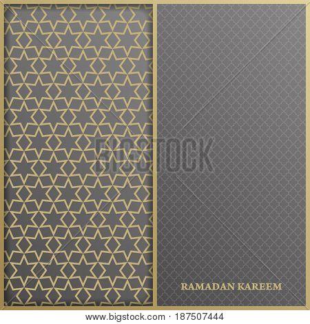 Islamic greeting card template with arabic pattern for Ramadan Kareem.Vector illustration
