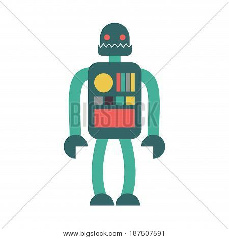 Robot Retro Toy Isolated. Vintage Cyborg On White Background