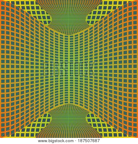 Optical art background with 3d illusion, deformed metal grid on blue area, vector EPS 10