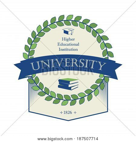 Sign university coat of arms education at university vector label