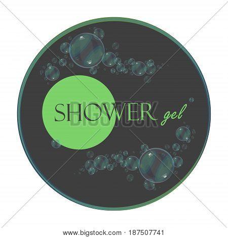 Shower gel logo trademark symbol label. Vector