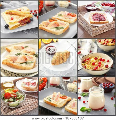 Collage of delicious food as background. Ideas for nutrient breakfast