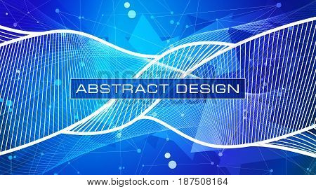 Vector design abstract technology background. White lines and points, blue-purple triangles debris wallpaper, low polygon shapes