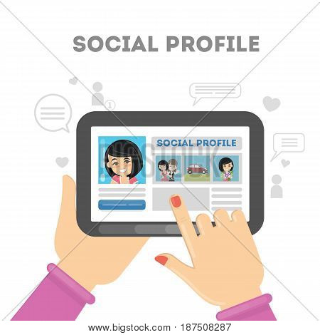 Social profile in media networks. Profile picture with personal information.