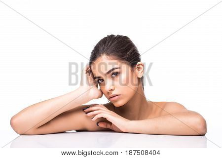 Beautiful Beauty Young Female Model Girl Touching Her Face Skin Cheeks Hands Fingers.