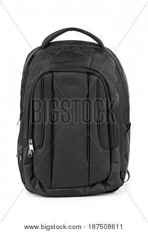 Black backpack isolated on white background