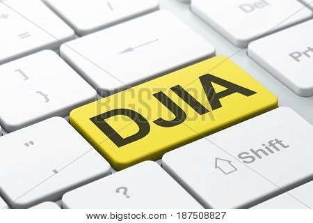 Stock market indexes concept: computer keyboard with word DJIA, selected focus on enter button background, 3D rendering