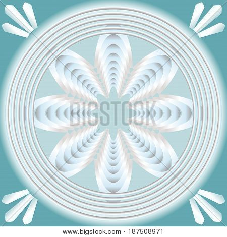 White fractal inspired flower in concentric circle shape on light blue background, optical art style, vector EPS 10