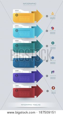 Vector infographics timeline design template with 3D paper label and graph 6 steps options.For workflow, layout, diagram, infograph, business, infographic, flowchart, process diagram, time line, chart