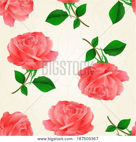 Seamless texture flower pink rose twig with leaves crack vintage hand draw vector illustration