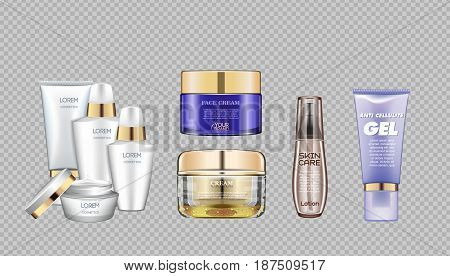 Digital vector glass face and skin care cream brown and purple container mockup set, with your brand, ready for print ads or magazine design. Transparent and shine, realistic 3d style