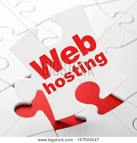 Web development concept: Web Hosting on White puzzle pieces background, 3D rendering