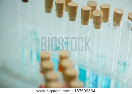 Close Up View Of Different Tubes With Reagents In Chemical Lab