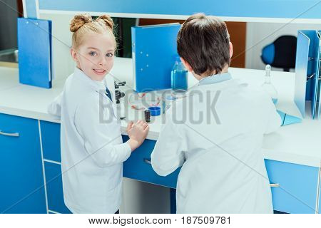 Schoolchildren With Science Lab Equipment In Chemical Lab, Scientists Kids Group Concept