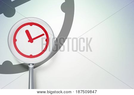 Time concept: magnifying optical glass with Clock icon on digital background, empty copyspace for card, text, advertising, 3D rendering