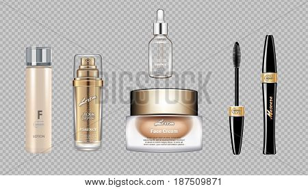 Digital vector eye care cream, eyelash applicator and mascara brush cosmetic container set mockup collection, cream, glass lotion container. Transparent and shine template, realistic 3d style
