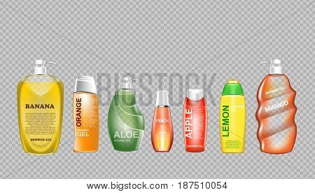 Digital vector green and yellow shower gel set cosmetic container mockup, your brand, ready for print ads design. Banana fruit, aloe vera and mango. Transparent, shine, realistic, 3d, reflection