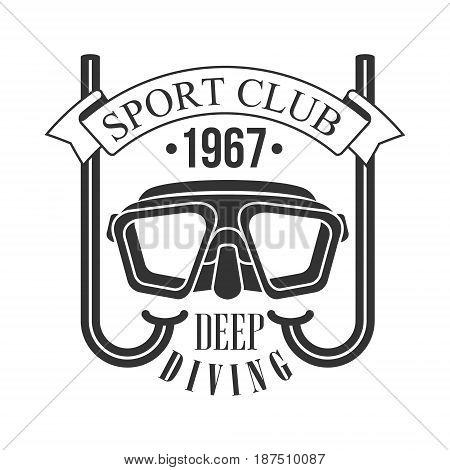 Sport club deep diving 1967 vintage logo. Black and white vector Illustration for diver school or club emblem, elements for badge, print, tattoo, label
