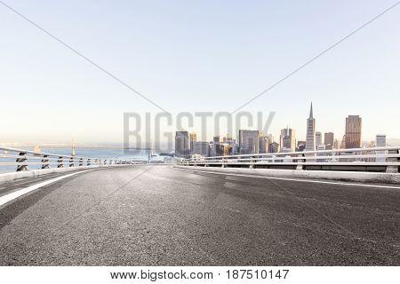empty road with landmark buildings in san francisco