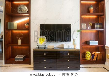 wooden furniture in modern bedroom