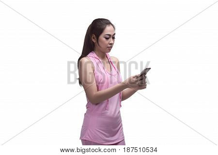 Beautiful Asian Sporty Woman Using Mobile Phone For Messaging