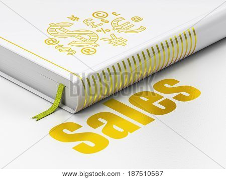 Advertising concept: closed book with Gold Finance Symbol icon and text Sales on floor, white background, 3D rendering