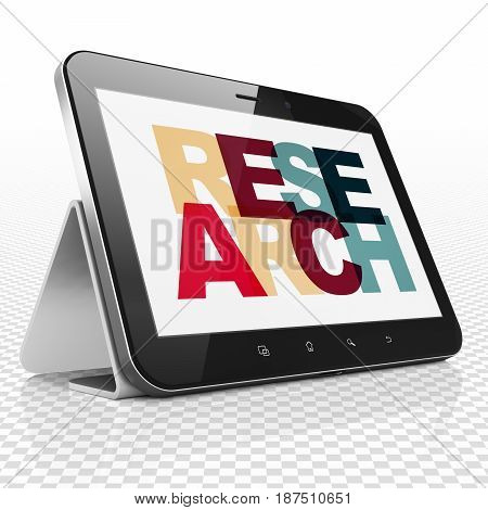 Marketing concept: Tablet Computer with Painted multicolor text Research on display, 3D rendering